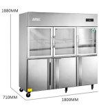 Doble temperatura seis puertas nevera para la cocina