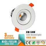 MAZORCA LED Downlight del CREE de RoHS 15W del Ce para la iluminación comercial