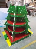 Afficheur Cardbord d'arbre de noël avec étagères, support d'affichage de solitaire de publicité extérieure pour cadeaux