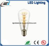 Éclairage d'ampoule léger incandescent de filament d'ampoule de l'ampoule de lampe de lumière de l'ampoule DEL 3W ST64 d'Edison de cru d'ampoules de DEL E27 DEL