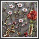 Laço floral do bordado de Tulle do laço poli do bordado do engranzamento