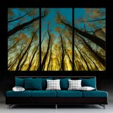 現代ホーム装飾の自然な森林木のキャンバスの壁はプリントを描く