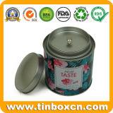Изготовленный на заказ круглое олово чая с воздухонепроницаемыми внутренними крышкой и заклепкой, Caddy чая, жестяной коробкой упаковки еды, коробкой олова металла