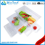 La vendita calda BPA libera la vaschetta di plastica trasparente di formato della cucina 1/9 del ristorante del certificato gastro