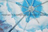 De Europese Paraplu's van de Regen van de Druk van de Overdracht van de Hitte van de Stijl Volledige Hand Open Vouwende (fu-3821ZC)