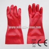 Красная перчатка PVC промышленная с сертификатом CE (5108-35)