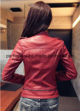 Fashion Slim Skinny Lapel Women Coat Veste en cuir PU Leather