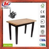 純木のつき合せはぎのボードのワークテーブル