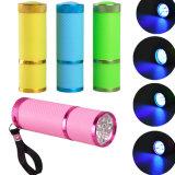 9 LED 395nm 자주색 가벼운 토치 직업적인 못 건조기 램프 매우 보라빛 UV 플래쉬 등