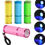 9 Fackel-Berufsnagel-Trockner-Lampen-ultraviolette UVtaschenlampe LED-395nm purpurrote helle