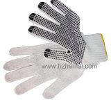 Le PVC tricoté de Polycotton a pointillé le gant de travail de sûreté de gants