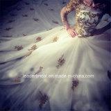 Vestido de casamento real luxuoso árabe nupcial G1712 do vestido de esfera do laço do ouro