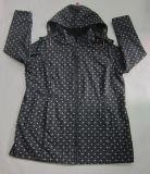 Rivestimento incappucciato di Softshell delle donne respirabili impermeabili nere di Microfleece stampate Yj-1067