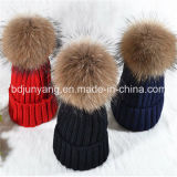 実質の大きいアライグマの毛皮POM POMの帽子の冬の帽子