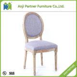 型の紫色ファブリックおよび木足の古典的な食事の椅子(アビゲイル)