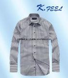 Camisa blanco y negro de la raya de la funda larga con el bolsillo de pecho izquierdo