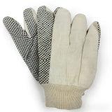 Gant pointillé de travail de jardin de gants de toile de gants de coton