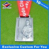 Medaglia d'argento dell'oggetto d'antiquariato poco costoso di sport con Nizza il marchio di abitudine 3D e del nastro