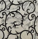 Tuile blanche et noire de Watterjet de marbre de mosaïque