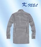 縦および水平の縞Acrossedが付いている白黒ワイシャツ