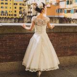 Tee-Längen-Strand-Spitze-Kurzschluss-Hochzeits-Kleid (SA010)