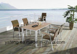 Competive Price Top Selling Outdoor Garden Alumínio + Composite-Móveis de madeira Dining Set by Chair & Table como sede de 6-8 pessoas (YT370)