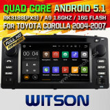Carro DVD GPS do Android 5.1 de Witson para Toyota Corolla 2004-2007 com sustentação do Internet DVR da ROM WiFi 3G do chipset 1080P 16g (A5512)