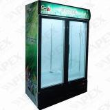 Refrigerador de vidro dobro do indicador da porta do supermercado com o refrigerador comercial vertical da alta qualidade