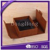 Коробка кожи конструкции книги открытая с коробкой подарка MDF упаковывая
