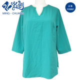 Blusa ocasional de la Largo-Funda de las señoras flojas verdes del V-Cuello