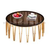 황금 미러를 가진 가장 새로운 현대 까만 강화 유리 둥근 커피용 탁자