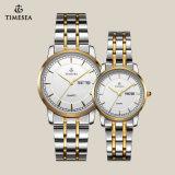Amantes de lujo 72042 de la marca de fábrica de los nuevos de la manera de las mujeres del reloj de los hombres del cuarzo del acero inoxidable de reloj del cristal relojes de los pares