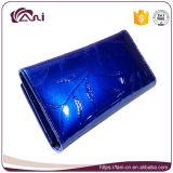 Женщин конструкции Fani бумажник с листьями Peinted, бумажник самых последних кожаный женщин высокого качества Handmade голубой кожаный