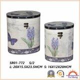 Oval-Shaped коробка подарка с пурпуровыми картинами цветка и деревянной коробкой хранения