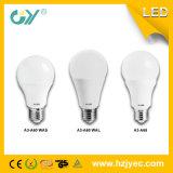 Алюминиевая электрическая лампочка пластмассы A60 9W E27 3000k СИД
