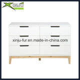 Home Living Wooden 6 Drawer Chest White (com pernas de madeira maciça)
