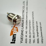 12mm de Vernikkelde ElektroSchakelaar Met opgeheven hoofd van het Metaal van de Drukknop van het Messing