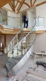 Gebogenes Glastreppenhaus mit Frameless Glasgeländer-Edelstahl-Handlauf