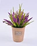 Pinus de la flor artificial en el crisol de papel con la escritura de la etiqueta