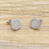 316L CNC Diamond Ear Stud avec des lettres romaines