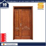 Porte ignifuge en bois de teck en bois solide extérieur d'entrée