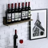 Cremagliera di visualizzazione di legno fissata al muro del vino per la casa