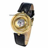 Relógios de couro da faixa das senhoras elegantes do aço inoxidável com cristal