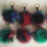 多彩な擬似毛皮POM POMは文字が付いているのどのキツネの毛皮POMのハンドバッグの魅力の毛皮の球を卸し売りする