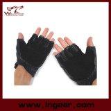 Чернота перчаток боя Airsoft половинного перста тяжёлого удара изгибчивая кожаный тактическая