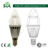 C37 E14 270 lampe froide d'ampoule de bougie de l'aluminium 3W 5W DEL de pièce forgéee de degré