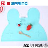 2017 coelhos encantadores portáteis de Placemat do grande silicone do tamanho/o silicone creativo Placemat BPA resistente ao calor do bebê miúdos do coelho livram