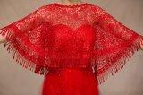 Scialle rosso della sposa di cerimonia nuziale del merletto di Boho