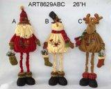 Decoração do Natal do Doorknob do boneco de neve de Santa, 3asst.