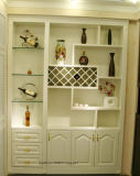 曇らされたガラスのドアの居間の家具の骨董品の白ワインのキャビネットN-6